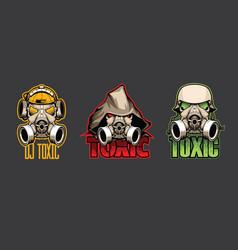 Set three bio masks with inscription toxic vector