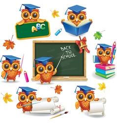 set wise owls in graduation caps vector image