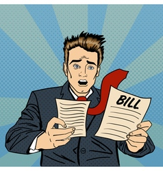 Shocked Man Frustrated Businessman Checking Bills vector
