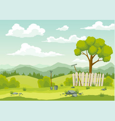 spring landscape with green grass hills blue sky vector image