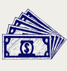 Stack of hundred dollars vector image