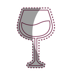 Stiker line glass with wine icon image vector