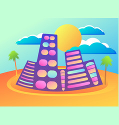 summer city with palm and sun cityscape resort vector image