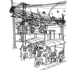 Thailand street life sketchbook vector