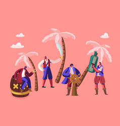 tiny pirates characters wearing costumes on island vector image