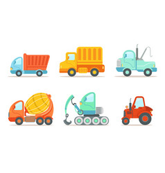transportation and construction machinery set vector image