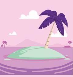 tropical little island cartoon vector image