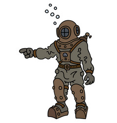 Vintage diver in a deep snuffer vector