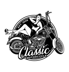 Vintage pin up girl on motorcycle vector