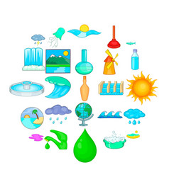 Water dam icons set cartoon style vector