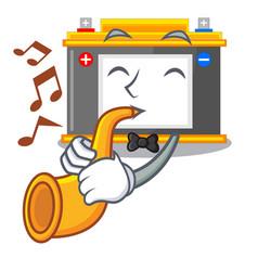 With trumpet accomulator cartoon sticks on the vector