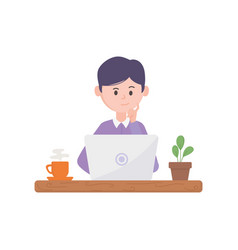 young man using laptop with coffee and plant vector image