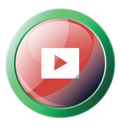 Youtube icon inside green circle on white vector