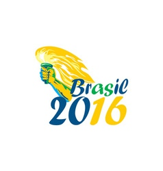 Brasil 2016 Summer Games Athlete Hand Flaming vector image