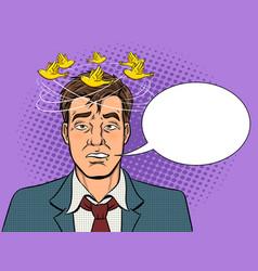 drunk man with birds pop art vector image vector image