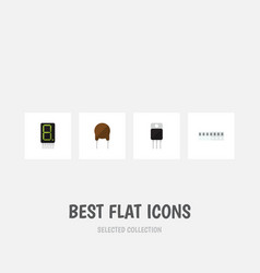 Flat icon device set of receiver memory display vector