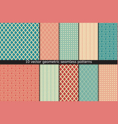 set of ten seamless patterns in blue and vector image