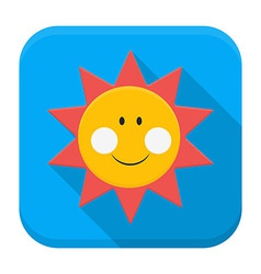Smiling sun over sky app icon with long shadow vector image