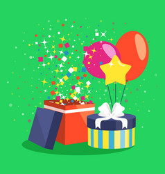 air ball balloon giftbox gift and confetti on vector image