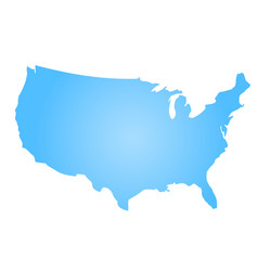 blue radial gradient silhouette map of united vector image vector image