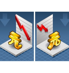 isometric yuan renminbi with red arrow down vector image