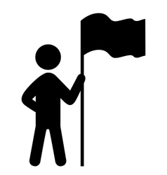 People Man with Flag Flat Icons Pictogram Isolated vector image