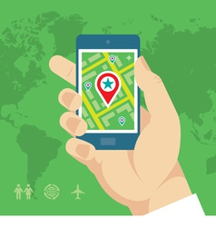Smartphone with Map and Location in Human Hand vector image vector image