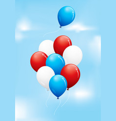 red white and blue balloons floating in a cloudy vector image vector image