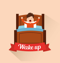 wake up little boy stretching in the bed vector image