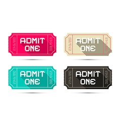 Admit one tickets set - retro isolated on wh vector