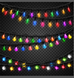 Colorful christmas transparent light bulbs vector image vector image