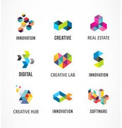 creative digital abstract colorful icons logos vector image vector image