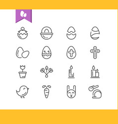 monochrome set of easter icons vector image