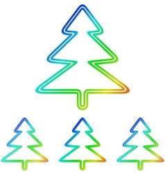 Rainbow pine tree logo design set vector