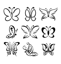 Set of butterfly silhouettes llustration vector image
