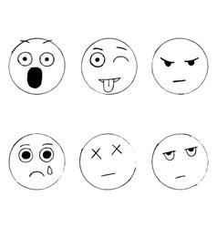 set of emoticon doodles hand drawn sad vector image