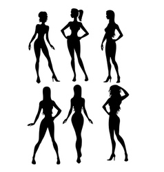 six girls silhouette vector image vector image