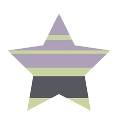 Striped Five Pointed Star Icon vector image