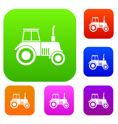 tractor set collection vector image