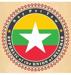 Vintage label cards of Myanmar flag vector image vector image