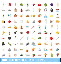 100 healthy lifestyle icons set cartoon style vector image