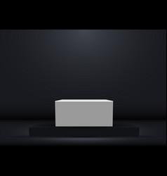 3d realistic dark platform with white empty vector