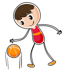 A boy dribbling a ball vector image