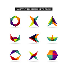 abstract colorful layer geometry shape logo sets vector image