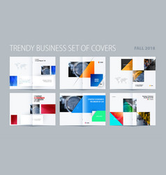 Abstract double-page brochure design rectangular vector