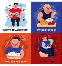 addiction concept icons set vector image