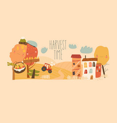 agricultural autumn landscapes with tractor hay vector image