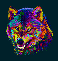 angry wolf abstract colorful neon portrait vector image