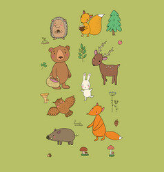 animals of the forest set with cute cartoon bears vector image