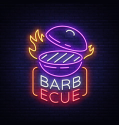 barbecue logo neon sign symbol bright vector image